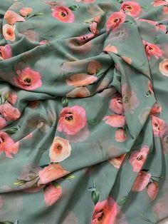 Georgette Fabric, Silk Fabric, Floral Print Fabric, Floral Prints, Buy Fabric Online, Kinds Of Fabric, Fabric Shop, Indian Designer Wear, Design Development