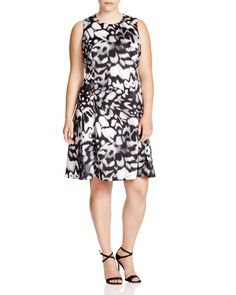 Calvin Klein Plus Abstract Print Fit and Flare Dress
