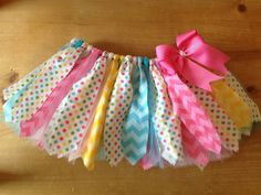 Pink, Yellow, and Turquoise Chevron and Polka Dots Scrap Fabric Tutu