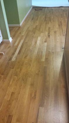 "New 2 1/4"" unfinished strip flooring sanded, stained (golden oak) and urethane. Mason, Ohio 45040. Oil based"