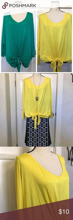 """2 pack dolman sleeve tops PACK OF 2 TOPS! Pack of two dolman-sleeve tops, each knotted at the waist to help customize your size. One yellow, one green, both perfect for summer. Relaxed fit. Rayon/spandex. Hand wash, dry flat. Imported. Size 1x/2x (18-24) Bust 30+"""" Length 28"""" Tops"""