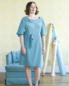 I'm not a fan of this dress on this model. I think it might be too big for her? In any case, could be a cute-but-comfy church dress.