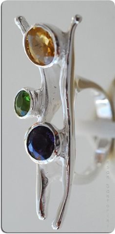 Amethyst, Peridot and Citrine Sterling Silver Ring