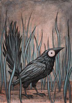 Black Bird matted original painting by Eden Bachelder by edenbee, $127.00