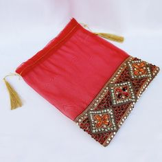 Red Stone Work Tisse Potli (Click To Buy | Only Rs 150)