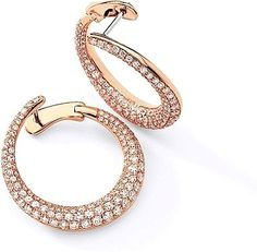 Simon G Rose Gold Hoop Earring with Pave Diamonds : This stunning pair of Simon G earrings features rose gold hoops with pave set round diamonds. The hoop connects from the side by a hinge for a unique yet elegant look.