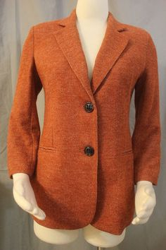 NWOT Cartonnier Anthropologie MMEDIUM Burnt Orange Knit Blazer Jacket Unworn!!