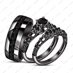 14K Black Gold Fn His Her New Design Wedding Band Black Sim Diamond Ring Set  Description  After Purchase Kindly Give Us Contact No.  *Click here to View Our Other Products*  Item Specification  Style Bridal Ring Set  Metal 925 Silver  Main Sto...