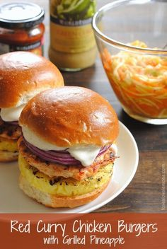 Red Curry Chicken Burgers with Grilled Pineapple, Red Onion  Lime Mayo | foxeslovelemons.com