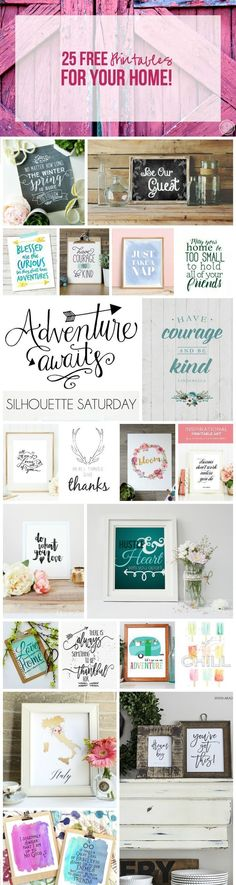 25 FREE Printables For Your Home! - Easy and inexpensive home decor ideas!