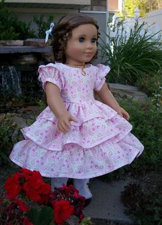 American Girl 1850s Strolling Dress by RuthielovestoSew on Etsy, $42.00