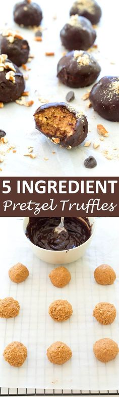 Super Easy 5 ingredient Peanut Butter Pretzel Truffles. These Truffles are no bake and made in one bowl.