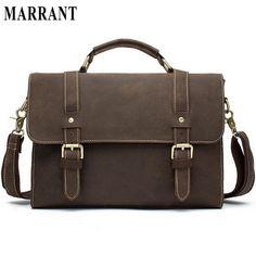 fa52cc94bd MARRANT Men Bags Crazy Horse Leather Casual Briefcase Portfolio Genuine  Leather Man Business Bag Messenger Shoulder