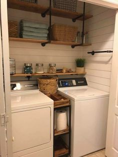 Who says that having a small laundry room is a bad thing? These smart small laundry room design ideas will prove them wrong. Laundry Room Shelves, Laundry Room Remodel, Farmhouse Laundry Room, Small Laundry Rooms, Laundry Room Organization, Laundry Room Design, Basement Laundry, Laundry Storage, Laundry Baskets