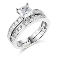 .925 Sterling Silver Rhodium Plated Engagement Ring and Wedding Band 2 Piece Set >>> Stop everything and read more details here! : Bridal Sets