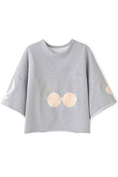 Loose Embroidered Grey Woman Sweatshirt