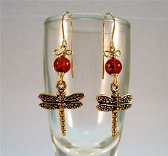 dragonfly amber earrings by blessedbeadbynomemay on Etsy, $18.00