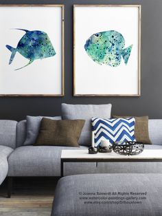Fishes Watercolor Painting Set of 2, Blue Fish Silhouette, Oceanic Life Wall Decor, Turquoise Home Art Print Nautical Sapphire Sea Creatures by Silhouetown on Etsy