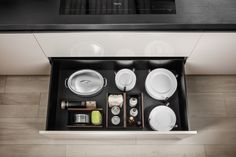 Dada Smoked Oak Drawers and Containers Accesories. Dishes Storage Drawer | Italian Design