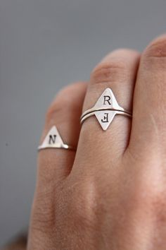 Custom made personalised initial ring. Buy two, and sit together on the finger. Jewellery Uk, Jewelry Shop, Custom Jewelry, Jewelry Stores, Jewelry Design, Designer Jewellery, Jewelery, Le Triangle, Hand Made