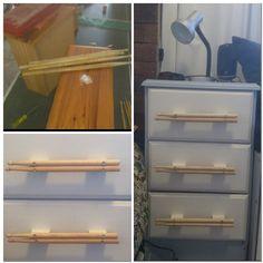 Old bedside drawer redo.  Used Cam's old drum sticks to make drawer handles.