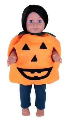 Trick or Treat time is just around the corner.  Don't let your doll miss out on all the fun, make this cool Halloween pumpkin costume and your 18 inch American Girl doll can join in too!  PDF pattern is available now with LIFETIME access to video instructions with Rosie showing you step-by-step how to create this wonderful outfit.