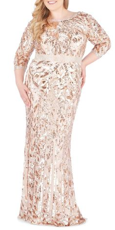 Mac Duggal Plus Size Bateau-Neck Sequin Column Gown Mob Dresses, Short Dresses, Dresses With Sleeves, Bride Dresses, Wedding Dresses, Mac Duggal, Plus Size Party Dresses, Plus Size Outfits, Mother Of The Bride Plus Size