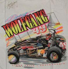 sprint car, wolfgang 1991, vintag tshirt, auto art, doug wolfgang, car race, 1991 tshirt