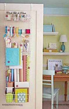Chef's pantry back-of-the-door rack repurposed as a great storage area for gift wrap and supplies!