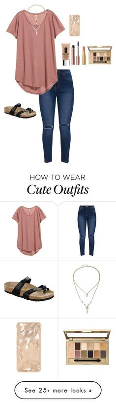 """""""Cute everyday outfit"""" by emipooh on Polyvore featuring Clinique, Birkenstock, Maybelline and Too Faced Cosmetics"""
