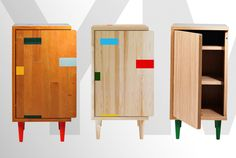 Very cool cabinets made from repurposed floor boards.