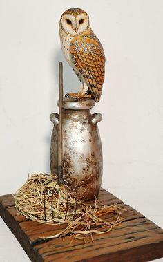 Barn Owl on milk jug carving - Artwork by Tim McEachern.