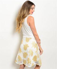 $18 Cute summer White Sleeveless V-neck Dress with Gold Flower Accents #summerdress