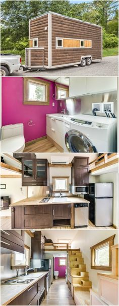 Unique and Colorful 312 Square Foot Tiny House for Sale in Chattanooga - We love tiny houses that aren't afraid to embrace colors and that's exactly what this next tiny house did! This 312 square foot home is currently for sale in Chattanooga, TN for $59,900. The home's exterior is wrapped in stained D-lap siding with a roof-top deck and features spray foam insulation for superior climate control.
