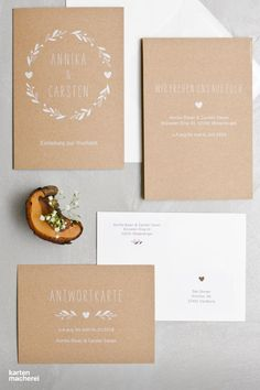 """Wedding stationery """"Floral Wreath Kraft Paper"""" made of real kraft paper. Matching: the reply card for your guests. Wedding Stationery, Wedding Invitations, Christmas Party Invitations, Kraft Paper, Birthday Bash, Christmas Fun, Save The Date, Wedding Cards, Gypsophila"""