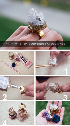 <3 DIY GIFT IDEA | Gold Gilded Geode Rings <3 I wouldn't make them quite so big, but pretty little geodes would be SUPER cute! <3