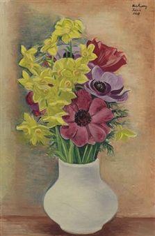 Pensées et jonquilles (1947) by Moise Kisling (1891-1953), Polish-born French (mutualart)