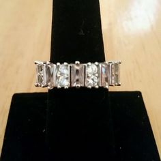 Elegant Baguette Ring 925 Sterling Silver square multicolor cz stones. Costume jewelry.  Main stones: CZ Colors: White, Pale Pink Jewelry Rings