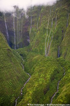 KAUAI,HAWAII: Aerial of waterfalls on Mt. Waialeale.  This spot is often called The Wall of Tears of Mt. Waialeale.  Everyone should take at least one helicopter ride of Kauai to get an aerial view of it's remote and inaccessible areas. The beauty of this island is incomparable.