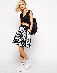 $90, adidas Orginals Skater Skirt With All Over Typo Print. Sold by Asos. Click for more info: https://lookastic.com/women/shop_items/119455/redirect