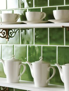 Brighten up your kitchen with Lime Green field tiles from The Winchester Tile Company. The gloss finish on these tiles exude luxury and will be the perfect additional to any country style kitchen. Traditional Kitchen Tiles, Winchester, Victorian Tiles, Green Kitchen, Kitchen Walls, Kitchen Colors, Up House, White Cottage, Green Rooms