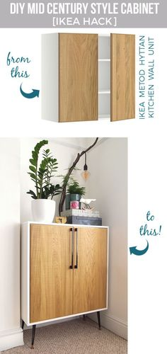 Best IKEA Hacks and DIY Hack Ideas for Furniture Projects and Home Decor from IKEA - DIY Mid Century Style Cabinet - Creative IKEA Hack Tutorials for DIY Platform Bed, Desk, Vanity, Dresser, Coffee Table, Storage and Kitchen, Bedroom and Bathroom Decor ht (desk organization diy for teens)