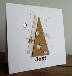 Make 65 ideas for Christmas cards yourself - Karten - Simple Christmas Cards, Christmas Paper Crafts, Homemade Christmas Cards, Christmas Cards To Make, Christmas Decorations To Make, Handmade Christmas, Homemade Cards, Christmas Ideas, Cardboard Christmas Tree
