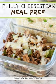 Ditch the traditional style Philly Cheesesteak sandwich this week, and make this super quick and simple Philly Cheesesteak Meal Prep instead! Best Meal Prep, Lunch Meal Prep, Meal Prep For The Week, Low Calorie Meal Prep Lunches, High Protein Meal Prep, Dinner Meal, Healthy Cheat Meals, Healthy Recipes, Healthy Meal Options