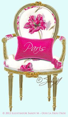 French Chair with Wild Pink Tulips
