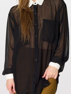 Contrast Collar Chiffon Button-Up | Long Sleeves - American Apparel
