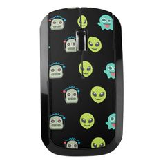 Cool Emoji Alien Ghost Robot Face Pattern Wireless Mouse