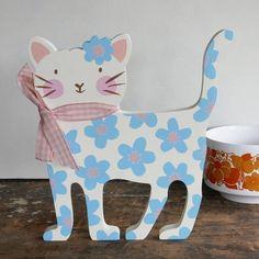 Blue Floral Wooden Cat Decoration
