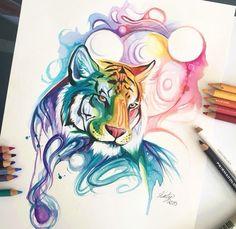 ecd64480b Watercolor Tiger, Watercolor Animals, Watercolor Tattoo, Watercolor  Paintings, Painting Art, Tattoo