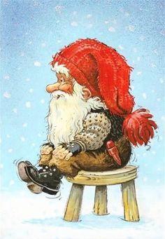 Christmas Card - by Kjell Einar Midthun, Norway Norwegian Christmas, Scandinavian Christmas, Christmas Rock, Christmas Scenes, Mythological Creatures, Fantasy Creatures, Elves And Fairies, Christmas Paintings, Christmas Illustration
